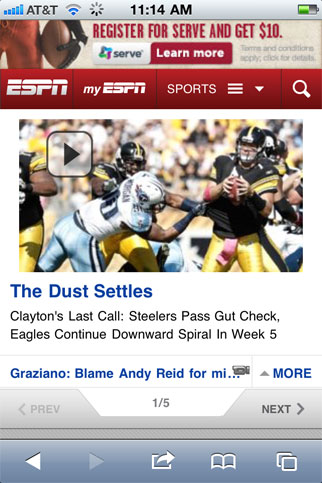 ESPN mobile experience