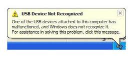 USB Device not recognised